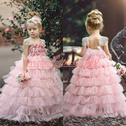 Discount red rose dresses for kids - Handmade Tiered Flower Girls' Dresses Rose Tulle Pink 2019 Girls Birthday Formal Gowns First Communion Dresses Kids