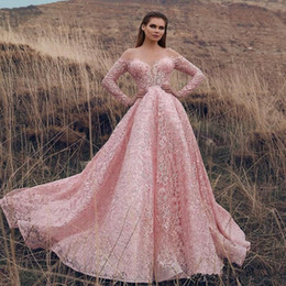 little bridal gowns Australia - Gorgeous Pink Full Lace Prom Dresses Long Off The Shoulder Princess Long Sleeves Evening Dress Sweep Train Back Zipper Bridal Gowns