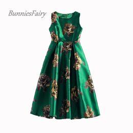db4b7d119ca Bunniesfairy Summer Vintage Rose Retro Flower Floral Green Vest Dresses  Sleeveless Wedding Black Print Swing Dress Q190508