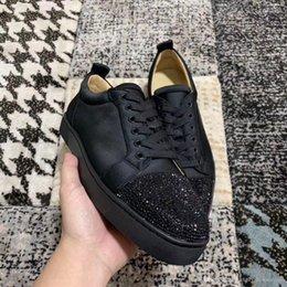 $enCountryForm.capitalKeyWord Australia - Famous Black Slik Leather Sneakers Shoes Strass Junior Red Bottom Shoes Luxury Men S Elegant Leisure Flat With Box,dust Bag,eu35-46