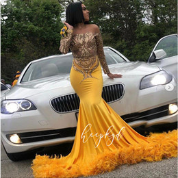 gold charm sexy girl Australia - Charming Gold Mermaid Feather Prom Dresses Off the Shoulder Long Sleeve Sequined Appliques Evening Gowns Plus Size Girls Graduation Dress
