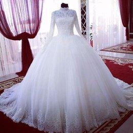 Vintage Dress For Muslim Australia - High Neck Lace Long Sleeves Muslim Wedding Dresses 2019 Arabic Bridal Ball Gown Plus Size Appliques Wedding Dress For Bride