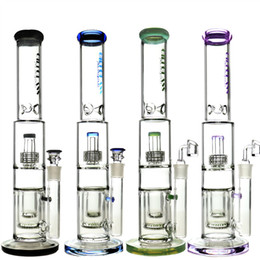 Double honeycomb perc water pipe online shopping - 17 quot Tall Straight Tube Bongs Double Honeycomb Perc bubbler Bong Water Pipes Heady Oil Rig Dab Rigs Bubbler Pipe Wax Quartz Banger Herb Bowl