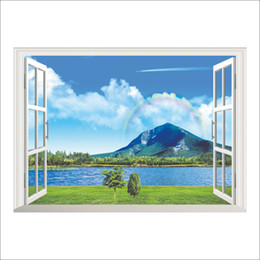 $enCountryForm.capitalKeyWord NZ - 3D False Window Decor Snow Mountain Wall Stickers Drawing Room Bedroom Home Decor DIY Scenery Poster Mural Wallpaper Wall Decal