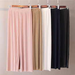$enCountryForm.capitalKeyWord NZ - Spring New And Autumn Solid Color Womens Pleated Wide Leg Palazzo Pants With Elastic Band Of 8 Color Casual Pants