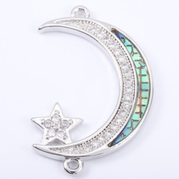 Micro Pave Connectors Australia - Singreal Abalone Shell Micro Pave Moon Star Charms Bracelet necklace Choker Pendant connectors for women DIY Jewelry making