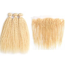 kinky curly weaving hair Canada - Hot Sale Pure #613 Kinky Curly Remy Human Hair Weaving Bundles 3 Weaves With 13X4 Lace Frontal Closure Free Shipping