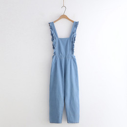 girls baggy pants NZ - Korean Fashion Women's Casual Denim Jumpsuit Vintage Ladies Rompers Ruffles Baggy Overall 90s Girl Loose Blue Jeans Pants