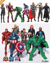 Red Hulk Figures Australia - 7pcs The Avengers Action Figure Marvel Hulk Captain Hawkeye Ironman Thor TG003