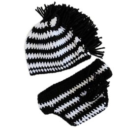 b1326288 Adorable Crochet Baby Zebra Outfits,Handmade Knit Baby Boy Girl Zebra Hat  and Diaper Cover Set,Infant Animal Costume,Newborn Photo Prop