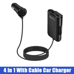 Wholesale 4 Port USB Car Charger Adapter Front Back Seat with Feet Extension Cable in Smart Cell Phone Laptop Charger Outlet