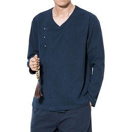 Male Clothing Styles UK - New Cotton Linen Shirt Male Flax Shirt Male Han Clothes Long Sleeve Shirt Retro Chinese Style Mens V Neck Dress Solid