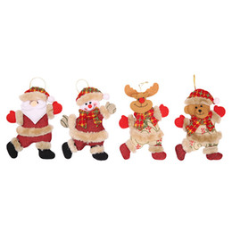 $enCountryForm.capitalKeyWord UK - 4 pcs set Christmas Decoration Christmas Tree Pendant Little Figure Dancing Old Man Snowman Deer Bear Fabric Doll Hanging Gifts