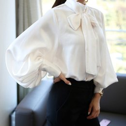 $enCountryForm.capitalKeyWord Australia - Ladies Vintage Satin Shirt Women Lantern Sleeve Shirt Bow Tie Neck Loose Elegant Blouse Tops Summer 2018 Shirt Treroninae SH190816