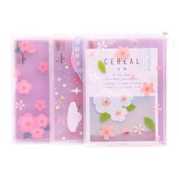 plastic zipper folders NZ - Kawaii A4 size Document bags Transparent PP Printed Planet Florals File Folders Zipper Storage Bags Stationery Organizer Gifts