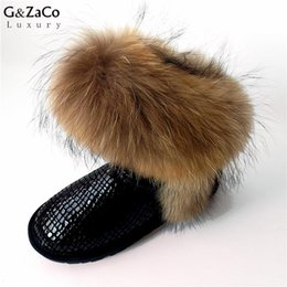 $enCountryForm.capitalKeyWord Australia - G&Zaco Luxury Snow Boots Natural Fox Fur Cow Boots Waterproof Mid Calf Genuine Leather Winter Cotton Real Fur Women Shoes