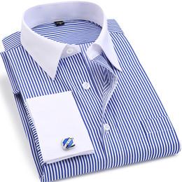 $enCountryForm.capitalKeyWord NZ - 2019 High Quality Striped Men French Cufflinks Casual Dress Shirts Long Sleeved White Collar Design Style Wedding Tuxedo Shirt