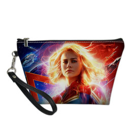 Printed Cosmetic Bags Australia - Customized Cosmetic Bag Makeup Organizers Captain Mavel Print Toiletry Bag Travel Cosmetic Cases Lady Vanity Case Pochette