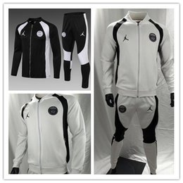 Wholesale new Paris Jordam Black and whiteTraining suit Psg soccer Tracksuit Sets MBAPPE paris saint germain long zipper jacket