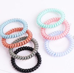 $enCountryForm.capitalKeyWord Australia - 26colors Telephone Wire Cord Gum Hair Tie 6.5cm Girls Elastic Hair Band Ring Rope Candy Color Bracelet Stretchy Scrunchy