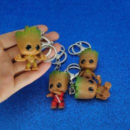 Galaxy Keychain Canada - Guardians of the Galaxy Groot Keychain PVC Groot Figure Key Chain Key Rings Holder Toys Fashion designer jewelry drop ship