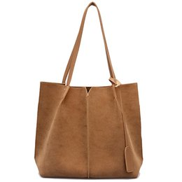 $enCountryForm.capitalKeyWord Australia - Women Suede Handbags Soft Leather Women Bag 2Pcs Handbags Set Female Shoulder Bags Large Casual Tote Bags