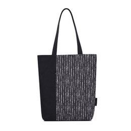 striped canvas tote bags wholesale UK - 5PCS   LOT Black Striped Shoulder Bag Large Capacity Canvas Bag Fashionable Shopping Bag Trendy Ladies Tote Sac