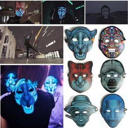 Wholesale High Quality EL Wire Mask for Horrible Party Night and Screaming Party Decorations LED Cold Light Mask Sound Activated Halloween