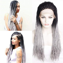 lace front grey wig 2019 - Micro Braided Black Root To Grey Ombre Color Lace Front Wigs Synthetic Heat Resistant Hair Braiding Styles 2 Tone Wig fo