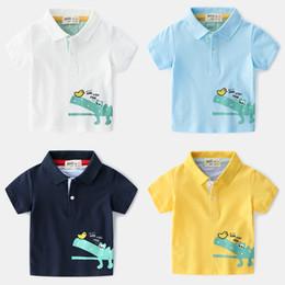 Foreign Clothes Brands Australia - 2019 summer foreign trade original brand children's clothing boy children's printing cartoon color matching short-sleeved polo shirt top