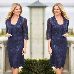 $enCountryForm.capitalKeyWord NZ - 2019 Navy Blue Mother of Bride Dresses with Jacket Lace Knee Length Mother Groom Dress Sequined lace Plus Size Wedding Guest Party Gowns