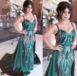 Sweetheart Sheath pageant dreSS online shopping - Trendy Sequined Mermaid African Evening Dresses Straps Overskirt Party Formal Plus Size Pageant Gowns Cheap Prom Special Occasion