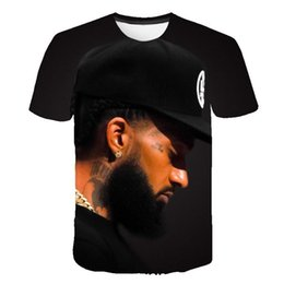 Wholesale clothing mens online – oversize Nipsey Hussle Mens Designer Tshirts D Digital Short Sleeved Rapper Male O Neck Tshirts Teenagers Designer Clothes