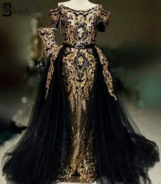 $enCountryForm.capitalKeyWord Australia - Long Sparkly Elegant Evening Dress 2019 Mermaid Cap Sleeve Two Piece Gold Sequin African Detachable Black Formal Evening Gowns