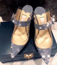 Navy Wedding Sandals Australia - Women Shining real leather stiletto Heeled Pointed Toe Clear Plastic Mules Sandals silver Crystal High Heels Pumps wedding party Shoes