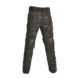 Paintball Camo UK - Multicam Tactical Pants Army Uniform Camo Trouser Paintball Combat Cargo Pants With Knee Pads