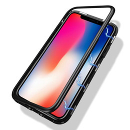 iphone metal aluminum Australia - Phone Case for iPhone 11 Pro Xr Xs Max X Magnetic Adsorption Metal Full Coverage Aluminum Alloy Frame with Tempered Glass Back Cover