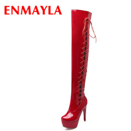 lace red thigh high boots Australia - ENMAYLA Autumn Lace-Up Over-the-Knee Boots Sexy Platform Stiletto Heel Women Red Shoes Thigh High Boots Women Black Size 43