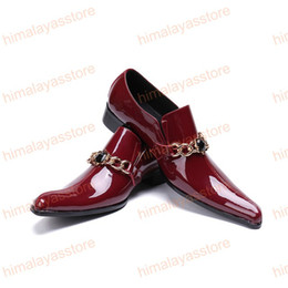 $enCountryForm.capitalKeyWord NZ - Strange Style Toe Party Male Shoes Black Crystal Men Shoes with Chain Sapato Masculino Red Wine Patent Leather Men Dress Shoes