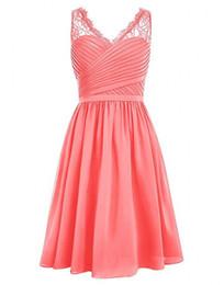 $enCountryForm.capitalKeyWord UK - Vestidos Coral Chiffon Short Bridesmaid Dresses V-Neck Sleeveless Homecoming Dresses Lace Shoulder Wedding Party Dresses