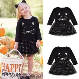Wholesale Baby Girl Summer Clothes Dot Dress Girl Long Sleeve Cotton Mesh Patchwork Kids Clothes Girl Dress Cat Face Black