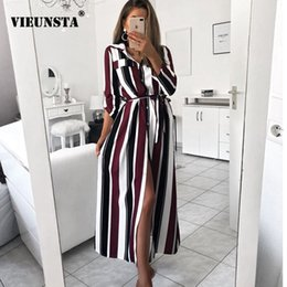 $enCountryForm.capitalKeyWord Australia - wholesale Fashion Turn-Down Collar Button Long Shirt Dress Women Spring Lace Up Striped Maxi Dresses Lady Long Sleeve Party