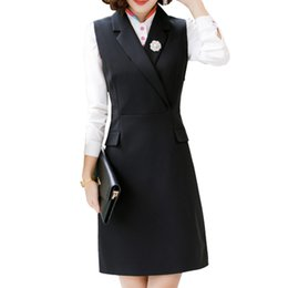 long women working suits Canada - Women Dress Suits Female Elegant Business Work Formal Office Shirt Full Sleeve Dress Knee Length Pencil 2 Pieces Set S-4XL