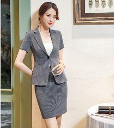 $enCountryForm.capitalKeyWord Australia - Summer Formal Dark Grey Blazer Women Business Suits with Skirt and Jacket Sets Ladies Work Wear Office Uniform Styles