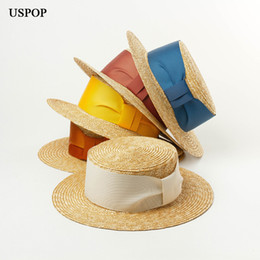 05a495a2bb6b3 USPOP 2019 New arrival Summer hats for women fashion velvet ribbon straw hat  natural wheat straw wide brim sun hat beach