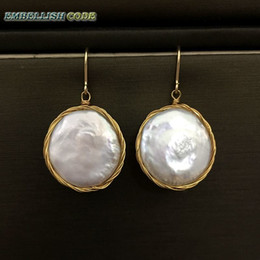 white gold coins NZ - New Design Hand Made Winding Baroque Stely Coin Button Flat Round Shape White Hook Dangle Earring Golden Wire Special For Women Y19052301