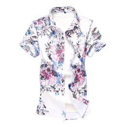 vintage mens clothing summer NZ - Mens Summer Beach Shirt 2019 Brand Men Short Sleeve Floral Shirts Male Vintage Casual Holiday Vacation Clothing Camisas Size 6XL