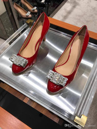 Sexy Round Peep Toe Stiletto Australia - Dress shoes round head diamond bow heels wedding banquet sexy elegant fashion red, nude, black, size 35-39