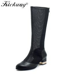 Discount sexy mesh boots - Plus Size 34-43 Women Summer Boots Lace Knee High Boots Mesh Patchwork PU soft leather Metal Square Heels Sexy Women Coo