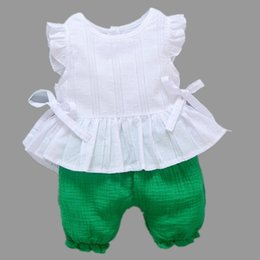 Baby Girl Summer Suits Australia - Toddler Baby Girls Summer Clothing Sets Candy Pants+White Top Shirt Girls Newborn Clothes Set Kids Fashion Princess Suit